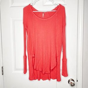 Free People pink waffle knit thermal tunic top
